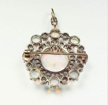 Pendentif broche en argent (800/oo) et or jaune 14K (585/oo) figurant une rosace...