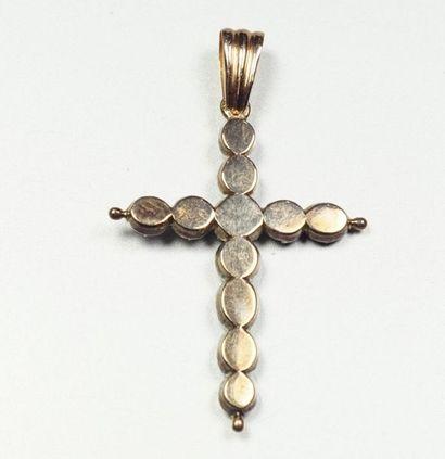 Croix Jeannette d'Arles en argent (800/oo) et or jaune 18K (750/oo) agrémentée de...