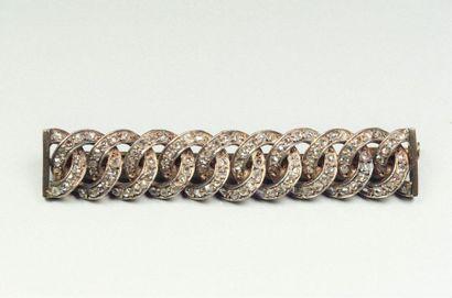 Broche barrette en argent (800/oo) et or...