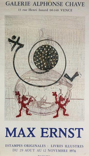 Max ERNST (1891-1976) (2 affiches) GALERIE DU CHAPITRE et GALERIE CHAVE Imp.Guillard...