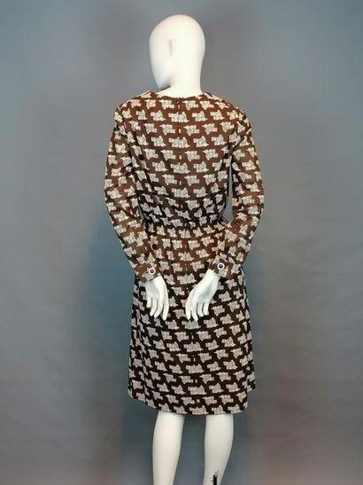 MODE VINTAGE Robe en coton des années 80, fond marron motif oiseaux incas, taille...