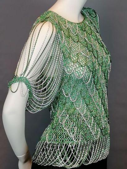 Loris AZZARO Top en lurex et chaînettes métal vert et argent - environ T38 - Bon...