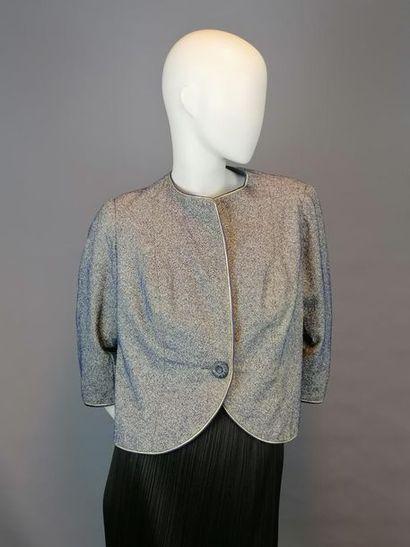 MODE VINTAGE Veste des années 60/70 en coton chiné bleu. Taille 38, excellent ét...