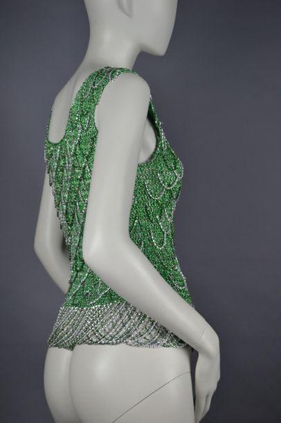 Loris AZZARO Top débardeur en lurex et chaînettes métal vert et argent - environ...