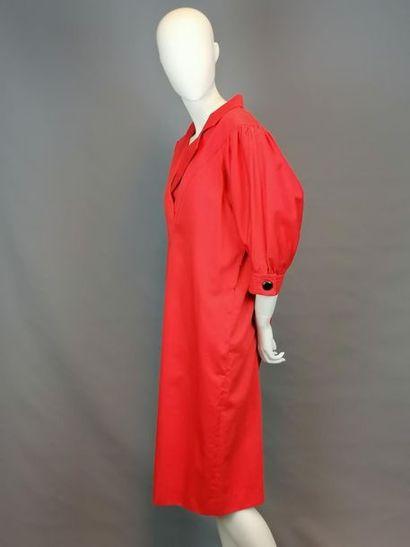 PISANTI Robe rouge de chez PISANTI des années 80 en coton, des années 80, en très...