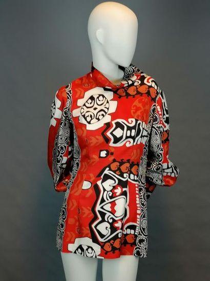MODE VINTAGE Tunique courte des années 60, en soie, travail de couturière, parfait...