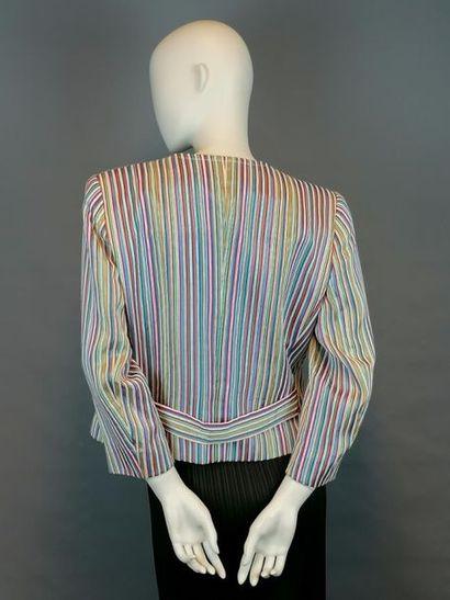 YSL Veste bayadère YSL Variation en Viscose, coton et nylon, des années 90, strass...