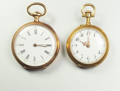 Deux montres de col en or jaune 18K (750/oo),...