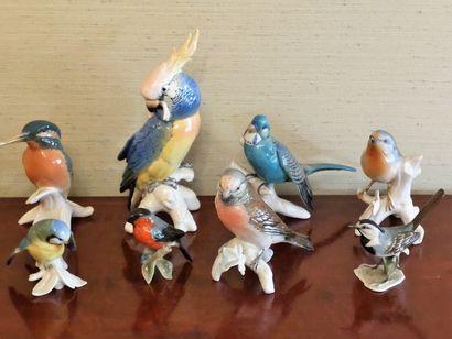 Collection d'oiseaux en porcelaine et de...