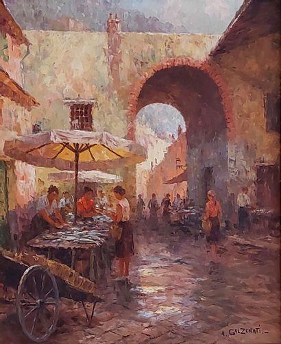 A. GALZENATI (XXe) A,Le marché. Huile sur toile. 64x53 cm.