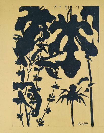 Alfred LESBROS(1873-1940) Fleurs . Ensemble d'environ 15 pochoirs. Cachet signature...