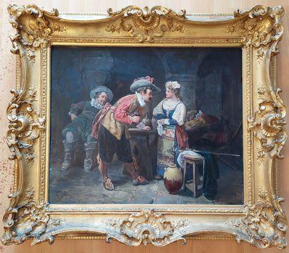 Louis GONTIER Scène de taverne, Huile sur toile signée 61 x 73 cm