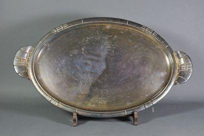 Plateau de service ovale en métal argent...