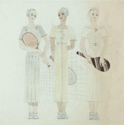 """""""MODE TENNIS - DESSIN Trois joueuses de tennis, ca. 1930. Dessin aquarellé. Papier..."""