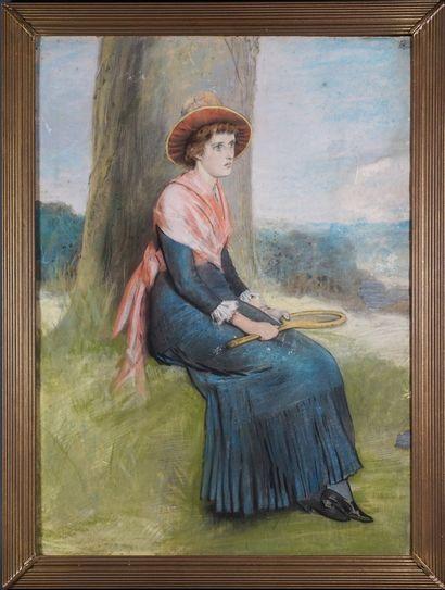 """""""TENNIS Joueuse de tennis, ca. 1900. Pastel sur papier. Encadré. 71 x 51 cm"""""""