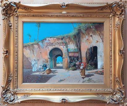 ALIVEZ ( XIX XXe) Entrée de la ville, Huile sur toile signée et située Tétouan ....