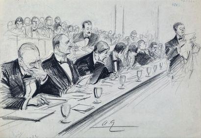 André GALLAND (1886-1965) Neufs dessin au fusain. Certains signés ou monogrammés....