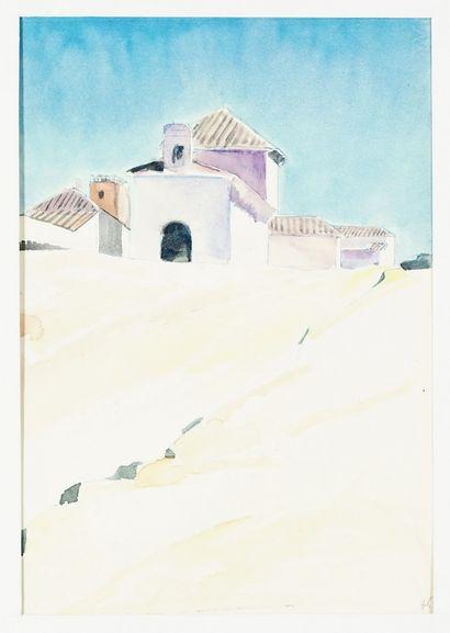 Paul HERMANN ( 1864-1940) Arles et Sainte Marie de la mer. Trois aquarelles sur papier,...