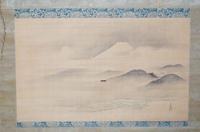 Peinture sur soie figurant le Mont Fuji....