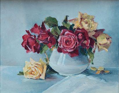 Ecole XXe Bouquet de fleurs Huile sur panneau signée. 25x19 cm joint Marcel-Georges...
