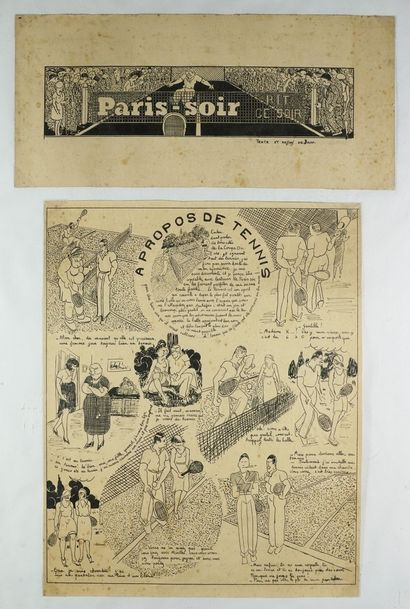 """""""PARIS-SOIR Maquette de Paris-Soir """"""""A propos de tennis"""""""", texte et dessins de Jam...."""