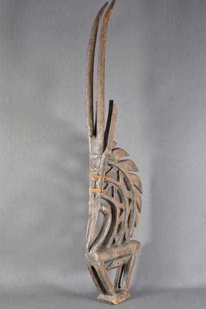 Cimier gazelle, en bois sculpté. Bambara,...