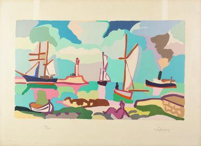 Charles LAPICQUE (1898-1988) Hommage à Boudin Lithographie en couleurs signée et...