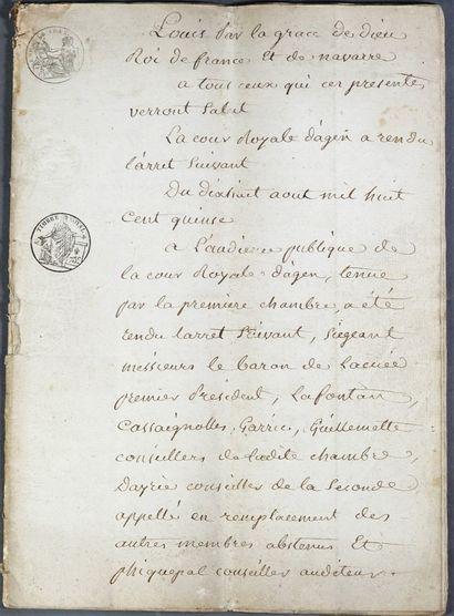 Lot de documents manuscrits, tapuscrits , actes de vente etc