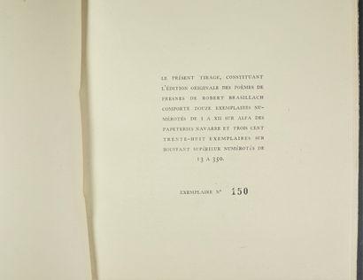 ROBERT BRASILLACH POEMES DE FRESNE. PARIS, LA PENSEE FRANÇAISE, 1946. Volume, in-4,...