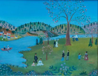 Jeanne LE RUYET (XXe) Paysage animé. Huile sur toile. 33x41cm.