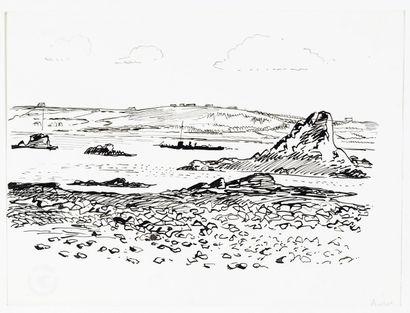 Paul HERMANN ( 1864-1940) Vue de Bréhat , deux dessin à l'encre de chine, situés...