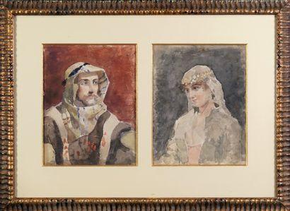 Ecole XXe Portraits orientalistes. Deux aquarelles sur papier encadrées . 27 x 21...