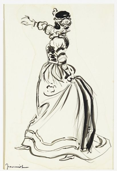 """Pierre Georges JEANNIOT (1848-1934) """"The lombard» Projet de menu.Dessin à la plume..."""