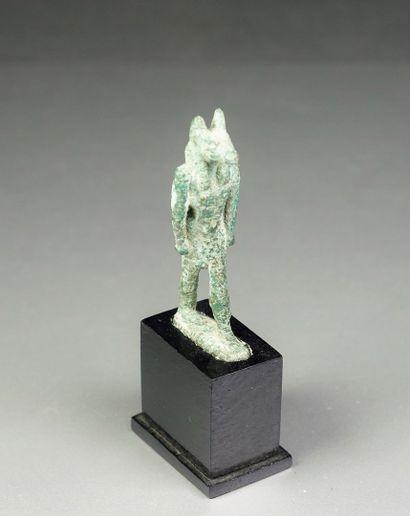 Égypte, Statuette d'Anubis en bronze H :...