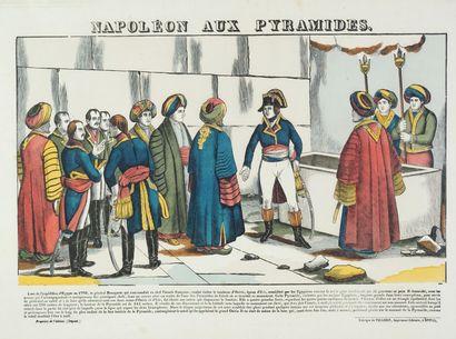 Ensemble de trois images d'Epinal, Napoléon aux pyramides, Bataille des Pyramides...