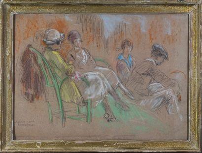 """""""TENNIS L'attente du match, ca. 1920. Pastel par Richard Ranft, signé. Encadré...."""