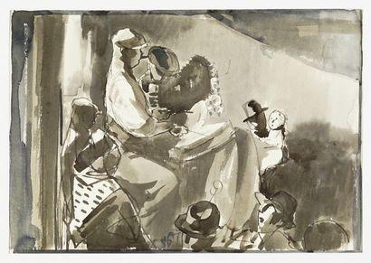 Paul HERMANN ( 1864-1940) Etudes de personnages .Deux dessins et encre sur papier...
