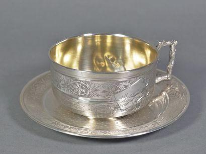 Tasse à thé et sa soucoupe en argent (925...