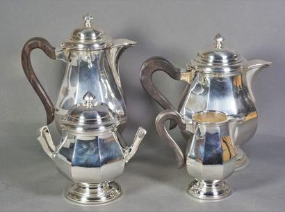 Service à thé et à café en métal argenté...