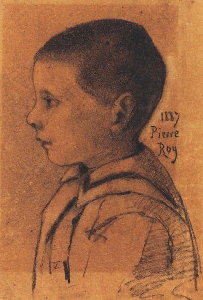 Portrait de Pierre Roy, 1887 Fusain Titré et daté à droite 443,5 x 33 cm