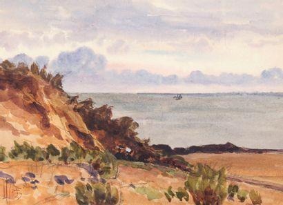 Couple de bretons sur les côtes de Saint-Michel, 1919 Aquarelle Signé et daté juin...