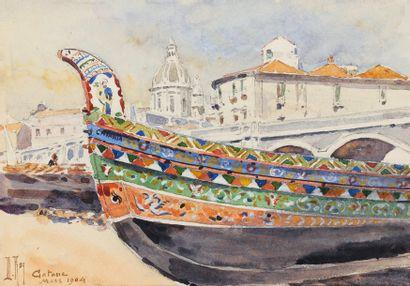 Bords de mer, Catane - l'Ile D'Yeu Ensemble de 4 aquarelles Chaque signée Deux datées...