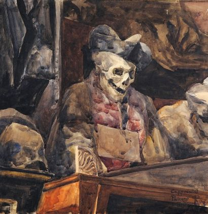 Vanité, 1904 Aquarelle et lavis d'encre Signée,...