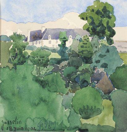 Josselin, 1904 Aquarelle Signée du cachet, située et datée 18 juin 1904 en bas à...