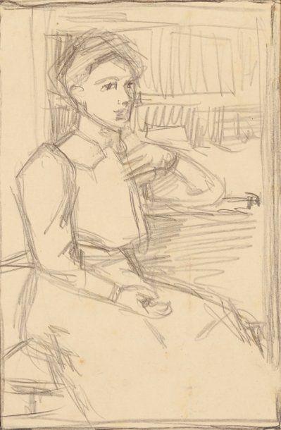 Portrait de Donatienne, circa 1908 Mine de...