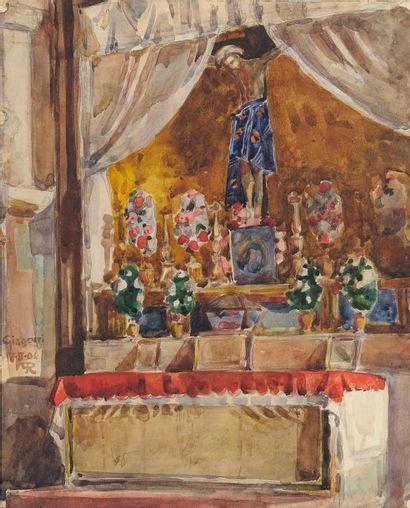 Autel de Girganti, Sicile, 1906 Aquarelle sur papier Signé du monogramme, daté 7...