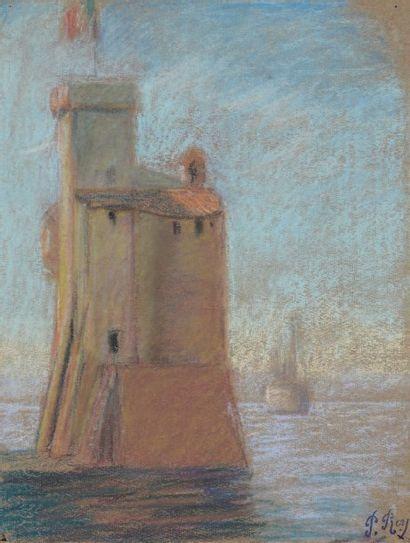 La tour du port de La Rochelle Pastel Signé du cachet 31 x 24 cm