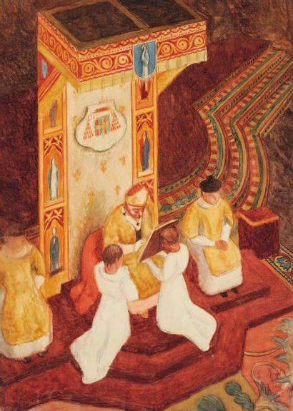 La messe Huile sur toile Signée en bas à...