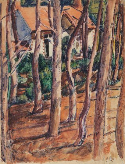 La maison dans les bois Aquarelle, feutre et encre Signé du cachet 49 x 38 cm Pliures...