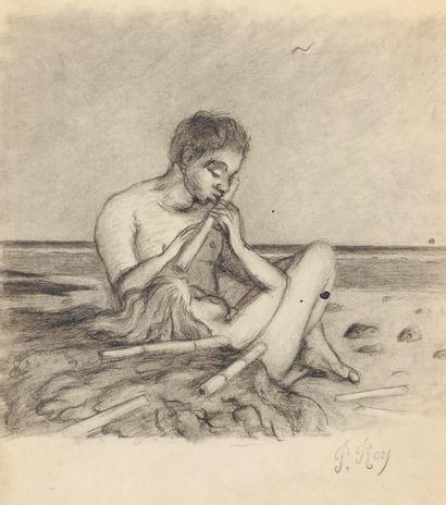 Le joueur de flûte, étude pour l'illustration L'enfant de la Haute Mer Fusain sur...